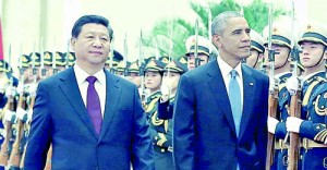 Beijing Barack Obama and Chinese President Xi Jinping at welcoming ceremony