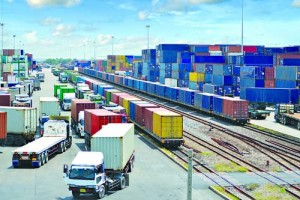container yard, rail transport in thailand