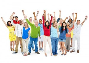 Cheerful Multi-Ethnic Group Of People With Their Arms Raised Ind