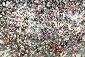 bird´s eye view to a crowd