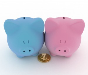 Two piggy-bank with coin.3d illustration isolated on white background