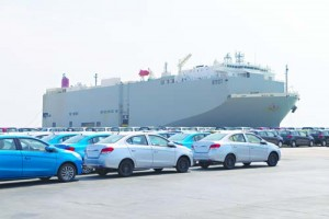New cars lined up in the port.