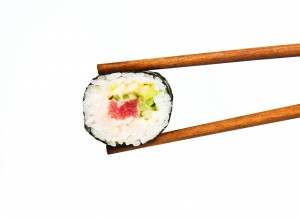 Japanese sushi rice, raw fish and seafood