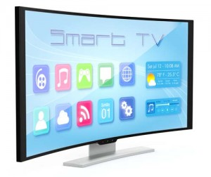 one curved smart tv, with apps screen (3d render)