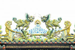 Chinese Dragon (Kylin) on a temple's roof
