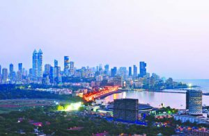Aerian view of mumbai by night at sunset blue hour