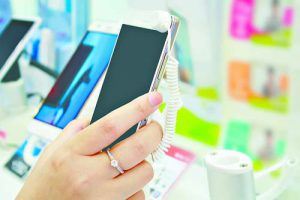 mobile smartphone in phone store
