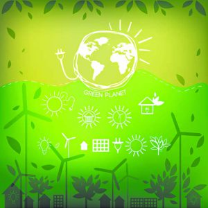Illustrations with icons of ecology, environment, green energy and pollution. Vector.