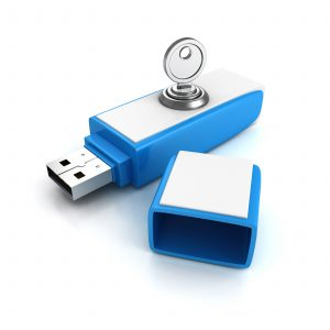 usb flash drive with lock key on white background. 3d render illustration