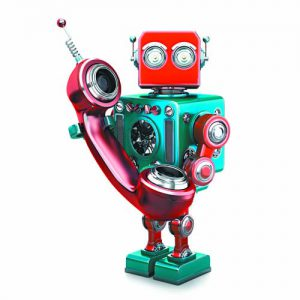 Retro robot with phone tube. Isolated. Contains clipping path