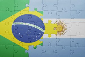 puzzle with the national flag of argentina and brazil
