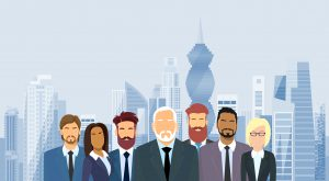 Business People Group Panama City Skyscraper Flat Vector Illustration