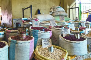 Different grains on bags on a vegetables market in Madagascar