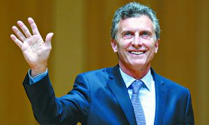 Argentina's President-elect Macri acknowledges the audience as he attends the inauguration of incoming Buenos Aires' City Mayor Larreta in Buenos Aires