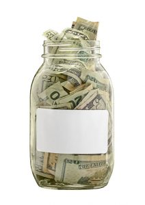 Money Jar With White Label Isolated on White
