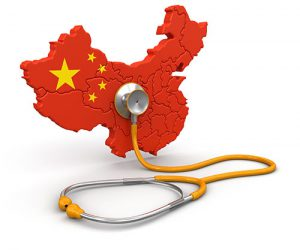 Map of China with Stethoscope (clipping path included)