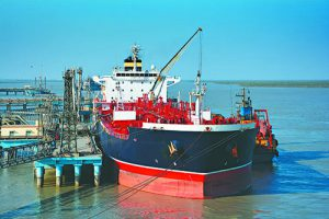 chemical tanker in the port for loading and bunkering operation
