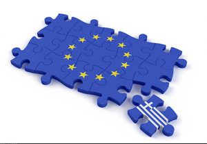 Jigsaw puzzle showing the europen union flag without Greece
