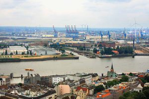 Hamburg cityscape with port and hard industry